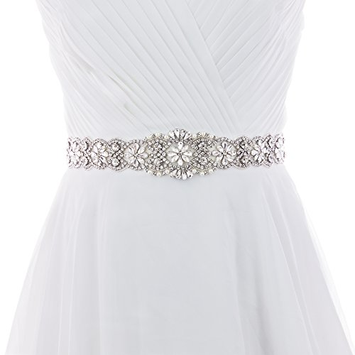 - ULAPAN Bridal Crystal Rhinestone Braided Wedding Dress Sash Belt (S161B-BK)