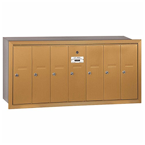 (Salsbury Industries 3507BRU Recessed Mounted Vertical Mailbox with USPS Access and 7 Doors, Brass)