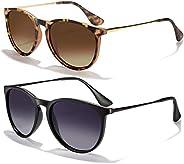 Sunglasses for Women Men Polarized uv Protection Wearpro Fashion Vintage Round Classic Retro Aviator Mirrored