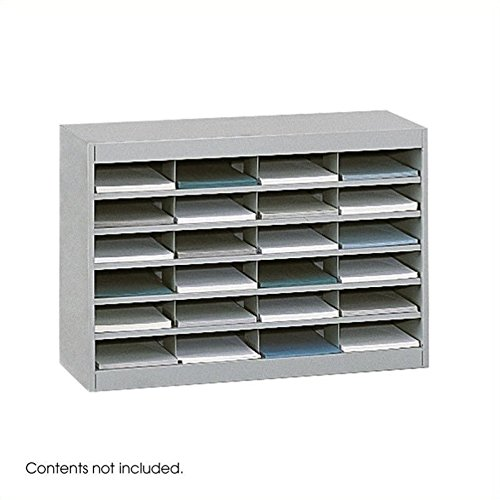 Safco Products E-Z Stor Literature Organizer, 24 Compartment, 9211GRR, Grey Powder Coat Finish, Commercial-Grade Steel Construction, Eco-Friendly -