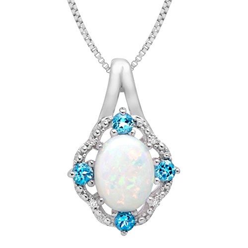Topaz Diamond Pendant Necklace - 1 ct Created Opal and 1/6 ct Swiss Blue Topaz Pendant Necklace with Diamonds in Sterling Silver