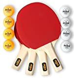 JOOLA Hit Set Bundle - Ping Pong Set for 4 Players - Includes 4 Pack Premium Ping Pong Paddles, 8 Table Tennis Balls, 1 Carrying