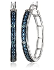 Sterling Silver Blue Diamond Hoop Earrings