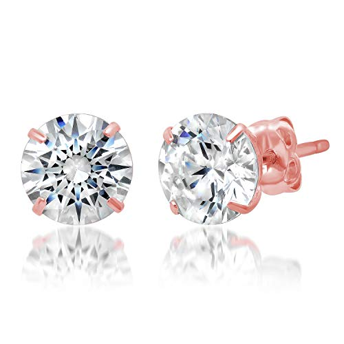 (14k Solid Rose Gold ROUND Stud Earrings with Genuine Swarovski Zirconia | 2.0 CT.TW. | With Gift)