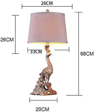 AILI- Table Lamp Desk Lamp Light Vintage, Peacock Modeling Resin Table Lamp, Bedroom Bedside Living Room, American,H68CM*W33CM Table Desk Reading Lamps