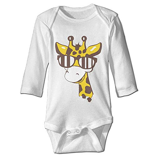 Printed A Giraffe with Sunglasses Funny Newborn Toddler Baby Long Sleeves Playsuit Outfit Clothes -