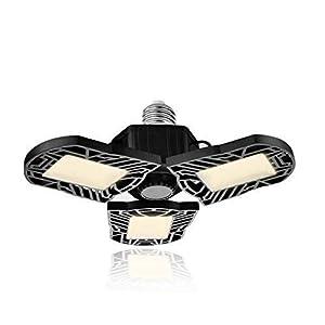 Viugreum LED Garage Lights, 60W LED Garage Ceiling Light Bulbs 6000LM Garage Lighting 3000K Warmwhite, E27 Deformable…