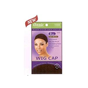 Wig Cap - One Size Fits All - Dark Brown Colour (Pack of 2) - Thin Stocking Fabric - Ultra Stretch - Easy To Control The Hair - By Annie by Annie