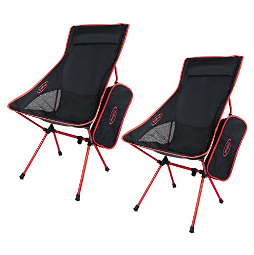 G4Free Outdoor 2 Pack Camping Chair Portable Folding Camp Chairs with Headrest High Back High Legs for Outdoor Backpacking Hiking Travel Picnic Festival (Red)