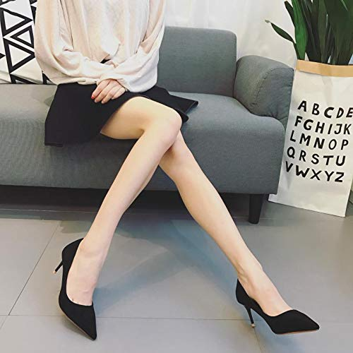 Female Spring Yellow Pointed Black Suede Single White Mouth Yukun Shallow heels Shoes Coral 38 High Color Heels Stiletto Temperament xpH701