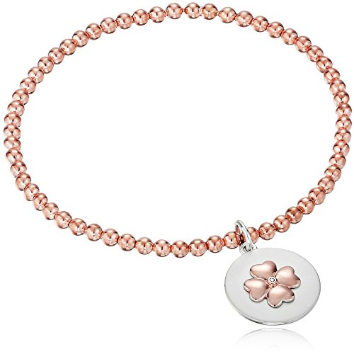 Sterling Silver with Rose Gold Plating Diamond Accent