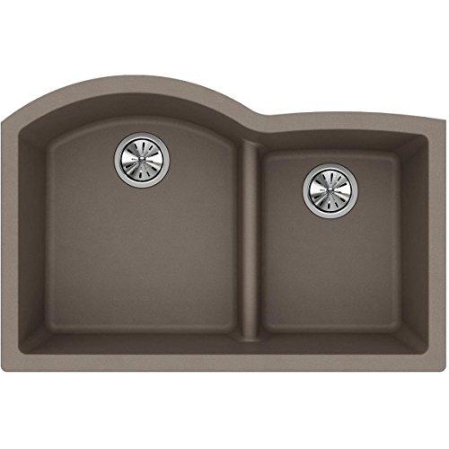Elkay Quartz Classic ELGHU3322RGR0 Greige Offset 60/40 Double Bowl Undermount Sink with Aqua Divide