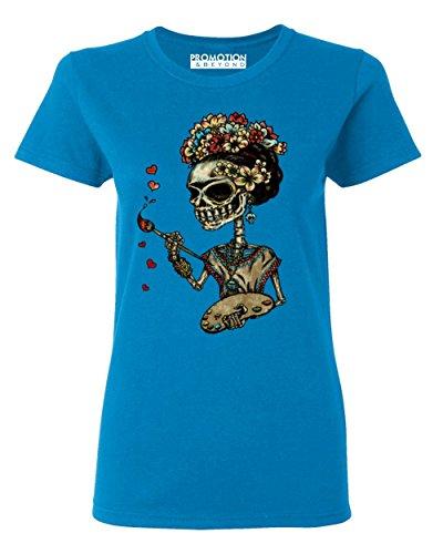 P&B Day of The Dead Artist Sugar Skull Women's T-Shirt, M, Saphire ()