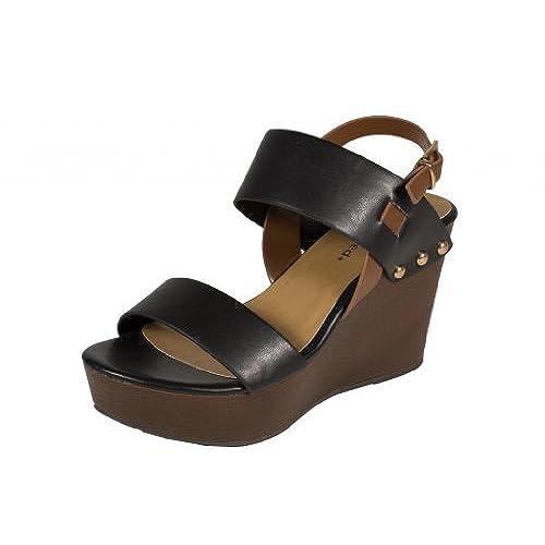 02507a4622e53 City Classified Women's Carton Open Toe Strappy Faux Wood Wedge Heel ...