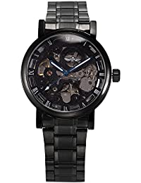 Men's Mechanical Skeleton Automatic Self-winding Black Stainless Steel Band Watch PMW269