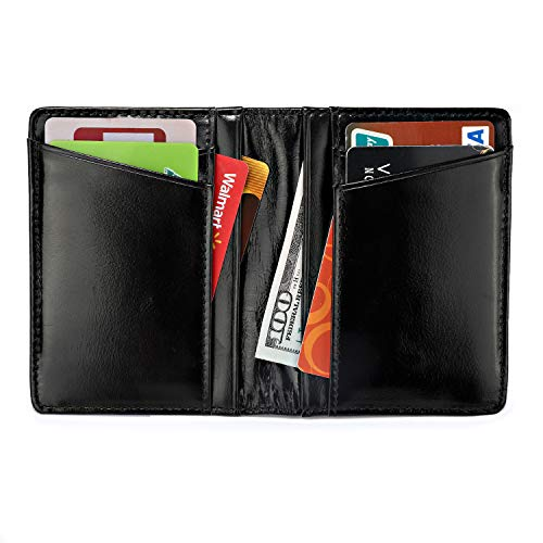 Men's Luxury Genuine Leather Wallet Thin Minimalist Front Pocket Wallet Card Case Holder with 2 ID Windows (Black) by Peny Eidy