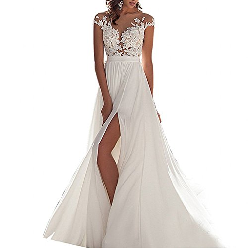Ieuan Women's Sexy Chiffon Beach Wedding Dress Long Tail Gown Bride Dresses, 6, White