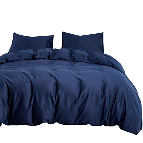 Wake In Cloud - Navy Blue Duvet Cover Set, 600 TC Cotton Sateen, Solid Plain Color Silky Soft Bedding with Zipper Closure and Corner Ties (3pcs, King Size) (Cover Navy Duvet)