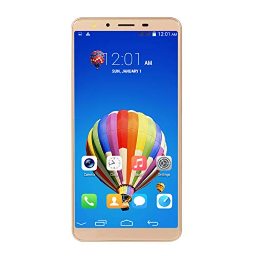(Unlocked Cell Phone, 5.72 inch Dual HD Camera Smart Phone Android 5.1 IPS Full Screen 512MB+4GB WiFi Bluetooth GPS 3G GSM/WCDMA Backup Call Mobile Phone (Gold, M10P))