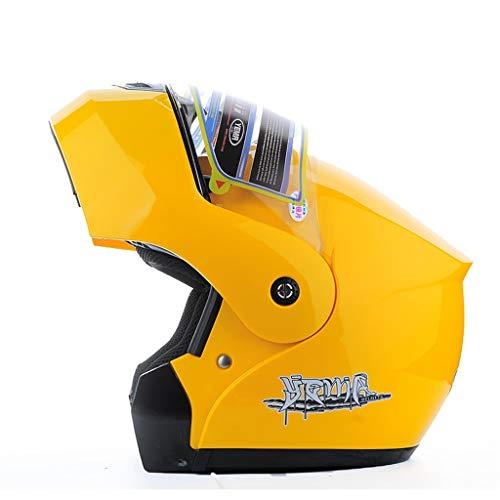 HJL Casco de Invierno de Motocicleta Medio Casco Vehículo eléctrico Espejo antivaho Casco (Color : Amarillo, Tamaño : L)
