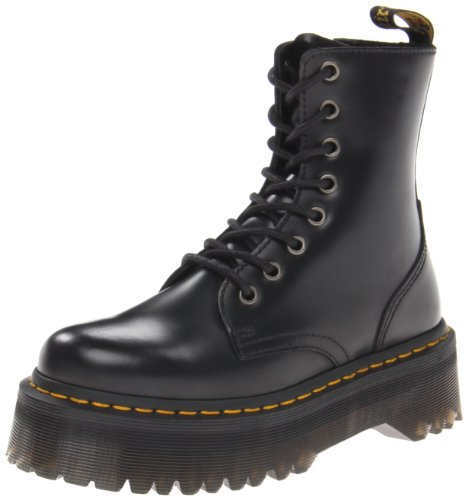 Martens 14 Eye Zip - Dr. Martens Unisex Adults' Jadon Black Polished Smooth Boots, Black (Black), 13 UK