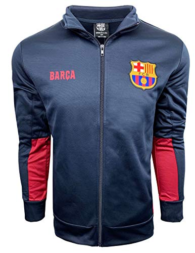 Barcelona Track Jacket, Kids and Adults Sizes, Soccer Football Jacket Navy Color,Official Merchandise (Youth Large 10-12 Years)