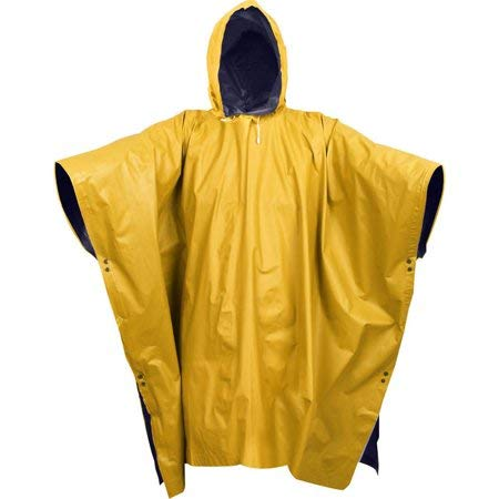 - Poncho Navy Blue to Yellow - Reversible Wet Weather Rain Poncho - PVC Survival Hunting Hunt Hunter Emergency Ponchos Cover Outside Guard Dry Covers Storm Jacket Plastic Rain Protector Covers