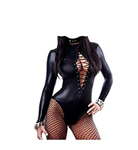 Sexy Leather Teddy Wet Look Sleeves Jumpsuit Outfit Bandage Bodysuit