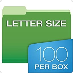 Pendaflex Two-Tone Color File Folders, Letter Size, 1/3 Cut, Assorted Colors, 100 Folders per Box (152 1/3 ASST)