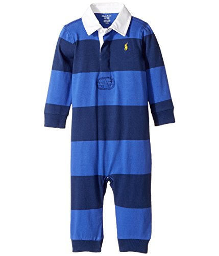Ralph Lauren Striped Romper (Ralph Lauren Baby Boys Striped Cotton Rugby Coverall (9 Months, Barclay Blue Multi))