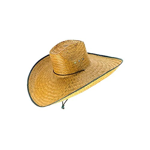 (Voyager Tools Double Weaved Ranch Style Hat Universal Fit Wide Brim Straw Hat)