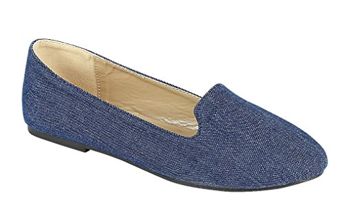 Forever Women'S Diana-81 Ballet Loafer-Flats Shoes Blue Denim, 5.5 M Us ()