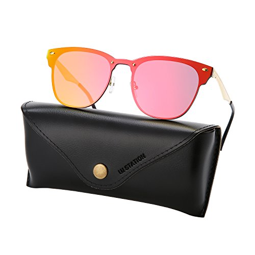 mirrored wayfarer sunglasses, rimless sunglasses, flat mirrored sunglasses 3576 with sunglasses case - Mirror Sunglasses Red Lens