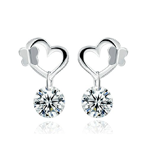Price comparison product image The November Nocturne Butterfly Hollow out Heart Silver Plated Cute Diamond Dangle Style Stud Earring