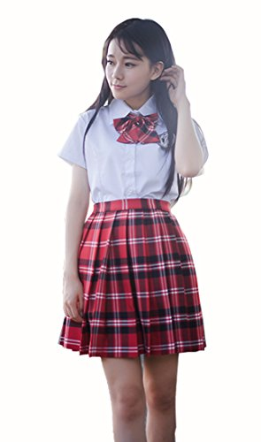Girl`s School Uniform Costumes Plaid Pleated Skirts (XS,Red Black White) (Red Japanese School Uniform)