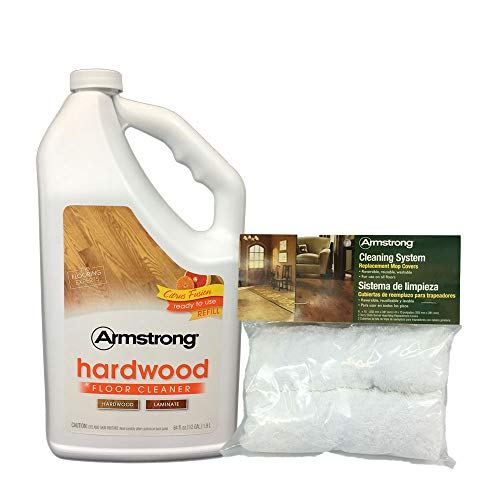 Armstrong Hardwood and Laminate Floor cleaner 64 fl oz + Armstrong Mop Cover Replacement 2Pack.