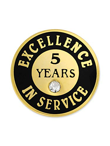 - PinMart Excellence in Service Enamel Lapel Pin w/Rhinestone - 5 Years