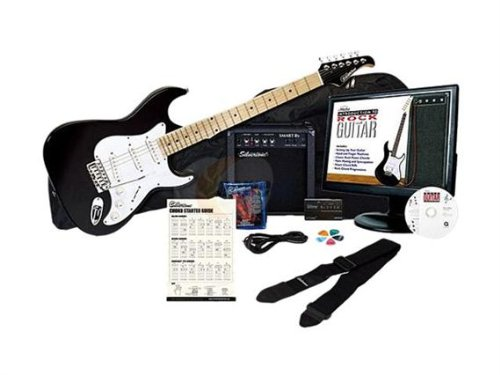 Silvertone SS10 Complete Electric Guitar Package with Instructional Software, Black by Silvertone