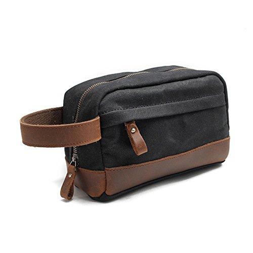 nero Wash Organizer cinturino Gendi in Canvas Travel con pelle vera Bag Bag per uomo TUnnOWR