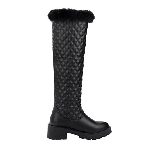 Enmayer Womens Pu Matériel Genou-haut Med Talons Bout Rond Slip-on Chaussures Dhiver Solides Chaussures Noir
