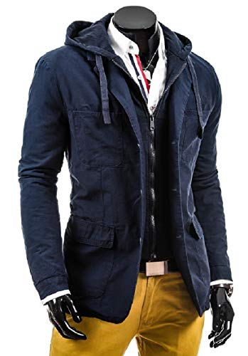 Thick blue RkBaoye Pockets Solid Casual Navy Up Button Men's Coats Hoodie STq01