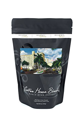 Miami, Florida - Biscayne Boulevard Scene (8oz Whole Bean Small Batch Artisan Coffee - Bold & Strong Medium Dark Roast w/ Artwork) - Biscayne Wall Lantern