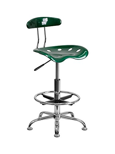 - Offex Contemporary Sleek Vibrant Green and Chrome Drafting Stool with Tractor Seat