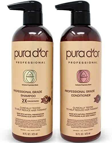 PURA D'OR Professional grade biotin anti-hair thinning 2x concentrated actives shampoo & conditioner set, men & women (packaging may vary), 32 Fl Ounce