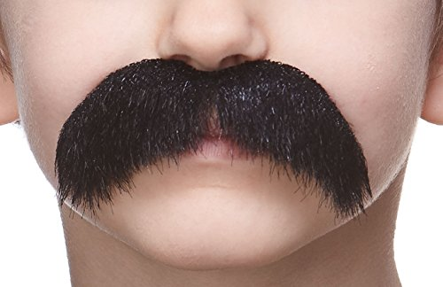 Mustaches Fake Mustache, Self Adhesive, Novelty, Small Walrus False Facial Hair, Costume Accessory for Kids, Black Lustrous Color