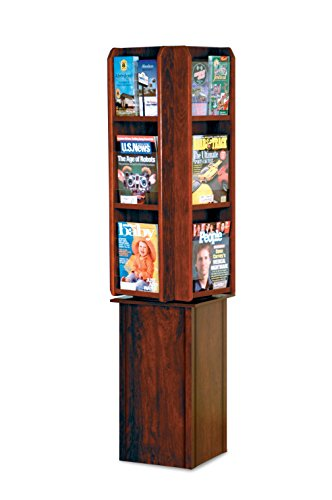 Wooden Mallet LM24-FSMH Divulge Spinning Floor Display with 12 Magazine/24 Brochure Pockets, Mahogany by Wooden Mallet