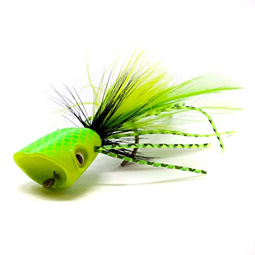 Flymen Fishing Surface Seducer Double Barrel Bass Bug Poppers - #2 Yellow Chartreuse