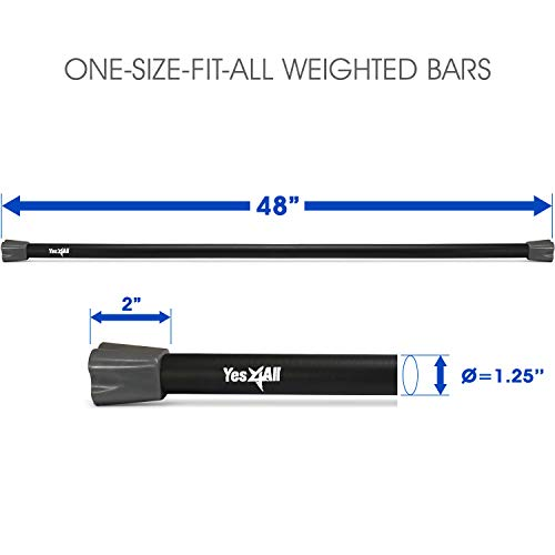 Yes4All Total Body Workout Weighted Bar / Weighted Workout Bar – Great for Physical Therapy, Aerobics and Yoga – Weighted Exercise Bar (12 lbs) by Yes4All (Image #2)