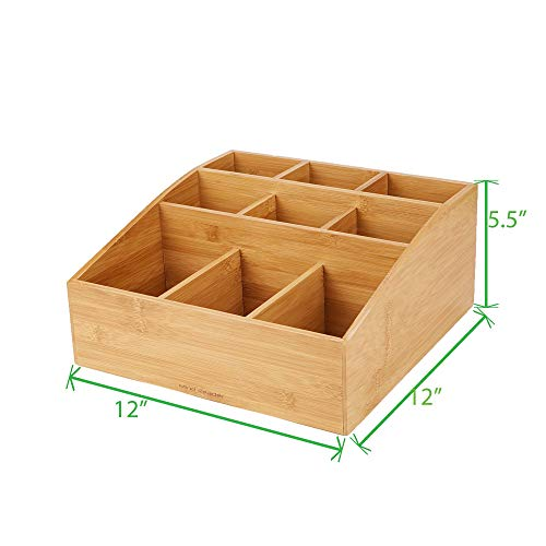 Mind Reader Coffee Condiment and Accessories Caddy Organizer with 9 Organizing Compartments, Bamboo Brown by Mind Reader (Image #5)