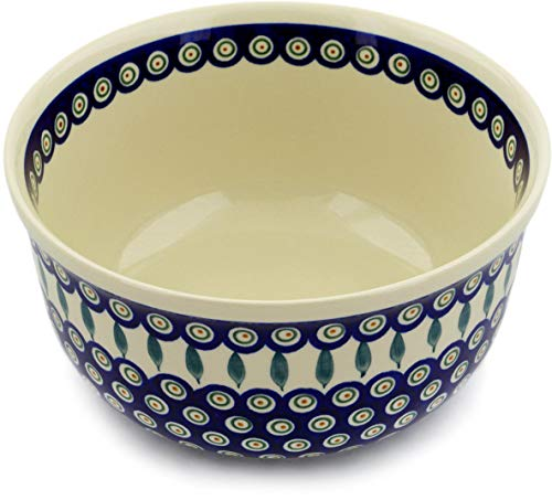 - Polish Pottery 10½-inch Bowl (Peacock Leaves Theme) + Certificate of Authenticity